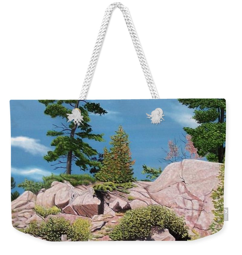 Landscapes Weekender Tote Bag featuring the painting Canoe Among The Rocks by Kenneth M Kirsch