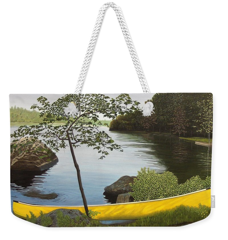 Landscapes Weekender Tote Bag featuring the painting Canoe On The Bay by Kenneth M Kirsch