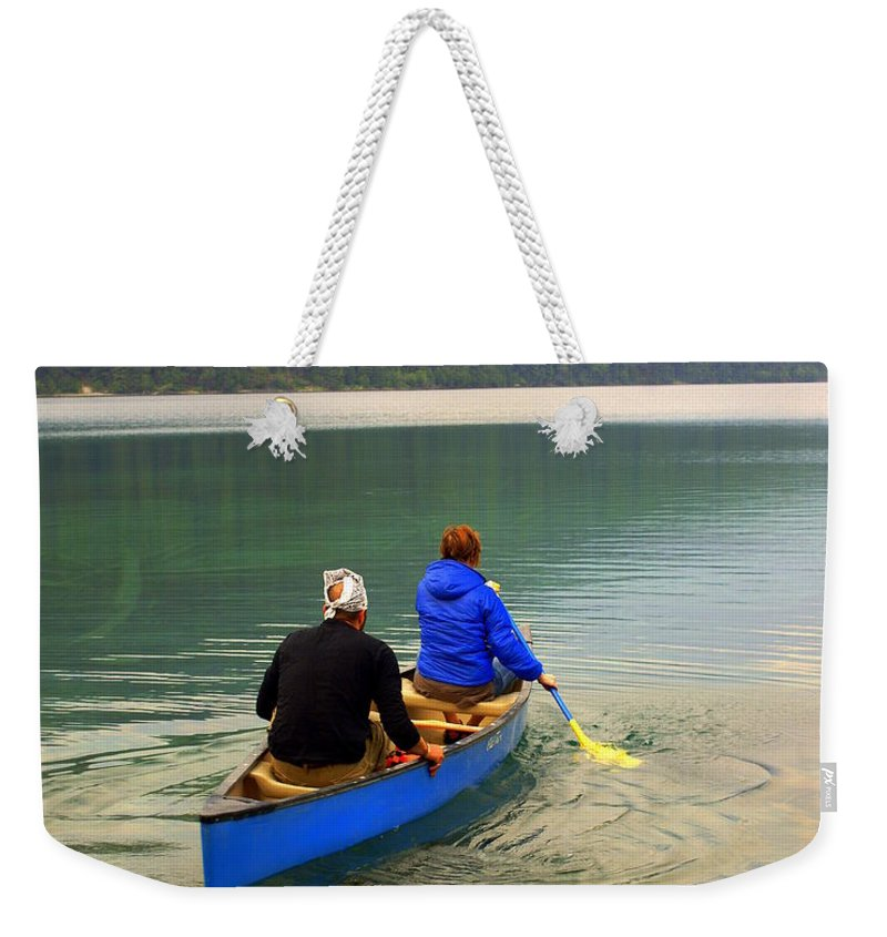 Glacier National Park Weekender Tote Bag featuring the photograph Canoeing Glacier Park by Marty Koch