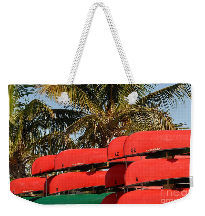 Flamingo Florida Weekender Tote Bag featuring the photograph Canoe's At Flamingo by David Lee Thompson