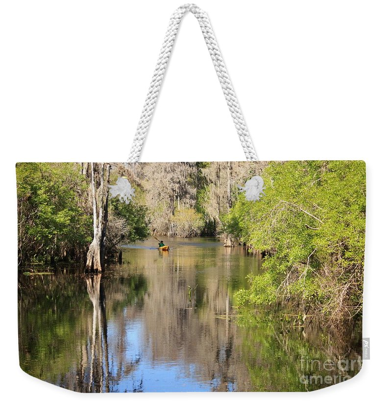 Hillsborough River Weekender Tote Bag featuring the photograph Canoing On Hillsborough River by Carol Groenen