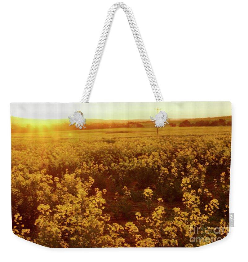 Sunburst Weekender Tote Bag featuring the photograph Canola Sunburst by Cassandra Buckley