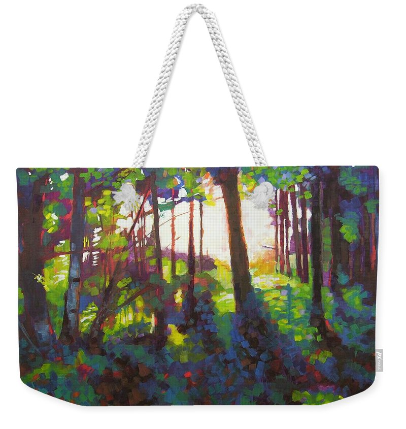 Landscape Weekender Tote Bag featuring the painting Canopy by Mary McInnis