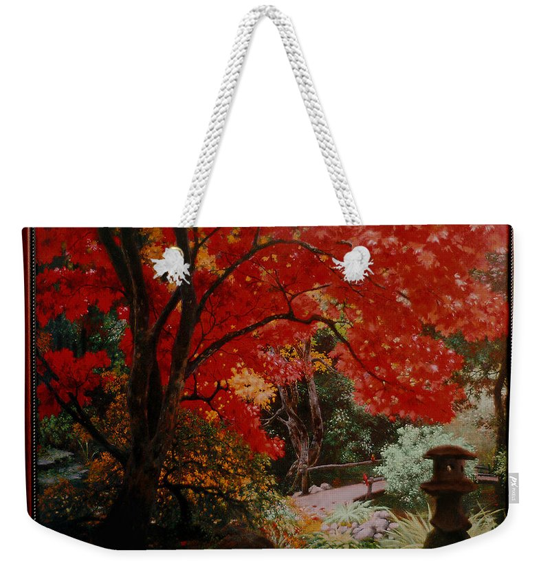 Oriental Weekender Tote Bag featuring the painting Canopy of Red by Stephen Lucas