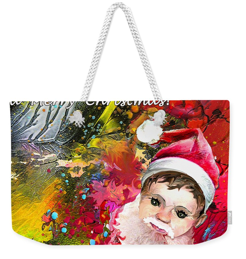 Santa Baby Painting Weekender Tote Bag featuring the painting Cant Stop Now by Miki De Goodaboom