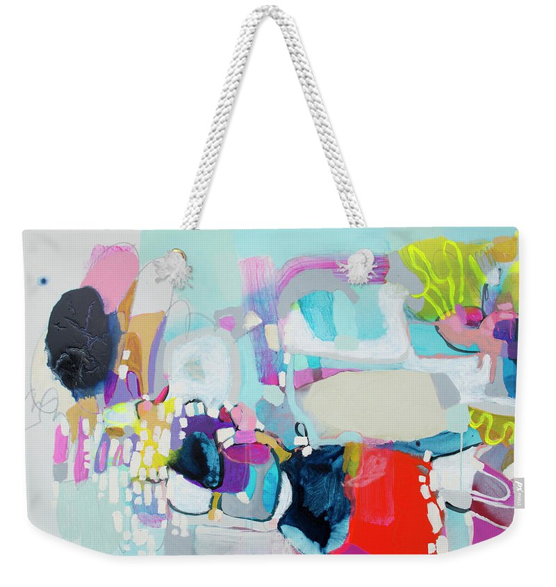 Abstract Weekender Tote Bag featuring the painting Can't Wait by Claire Desjardins