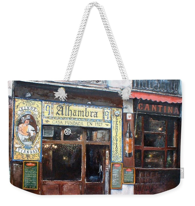 Madrid Weekender Tote Bag featuring the painting Cantina Alhambra 1 by Tomas Castano
