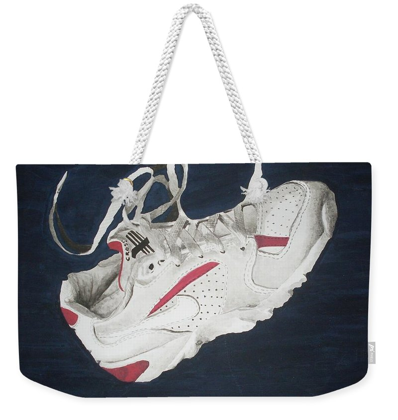 Shoes Weekender Tote Bag featuring the painting Canvass by Olaoluwa Smith