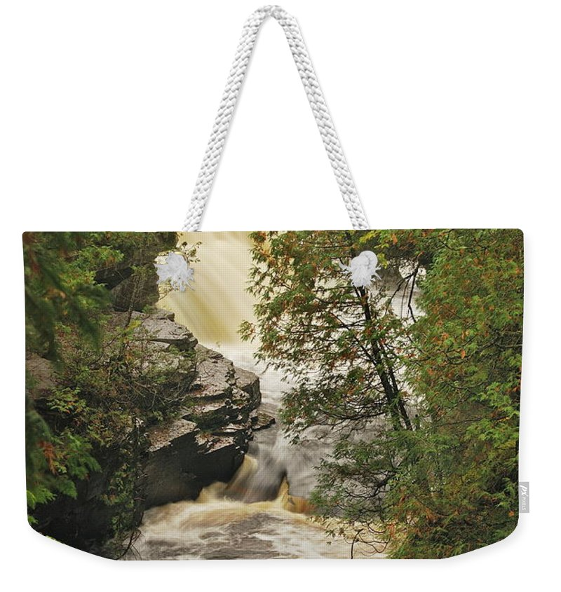 Michigan Weekender Tote Bag featuring the photograph Canyon Falls 2 by Michael Peychich