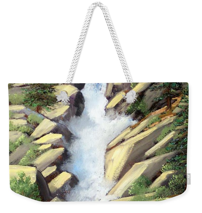 Landscape Weekender Tote Bag featuring the painting Canyon Falls by Frank Wilson