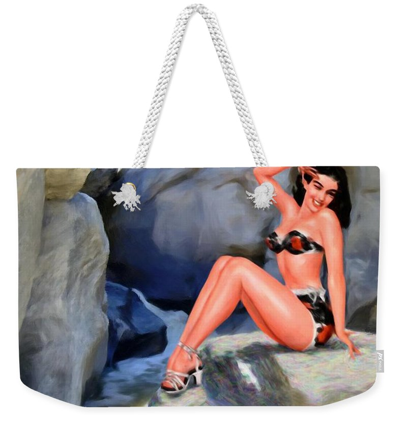 Landscape Weekender Tote Bag featuring the digital art Canyon Girl by Snake Jagger