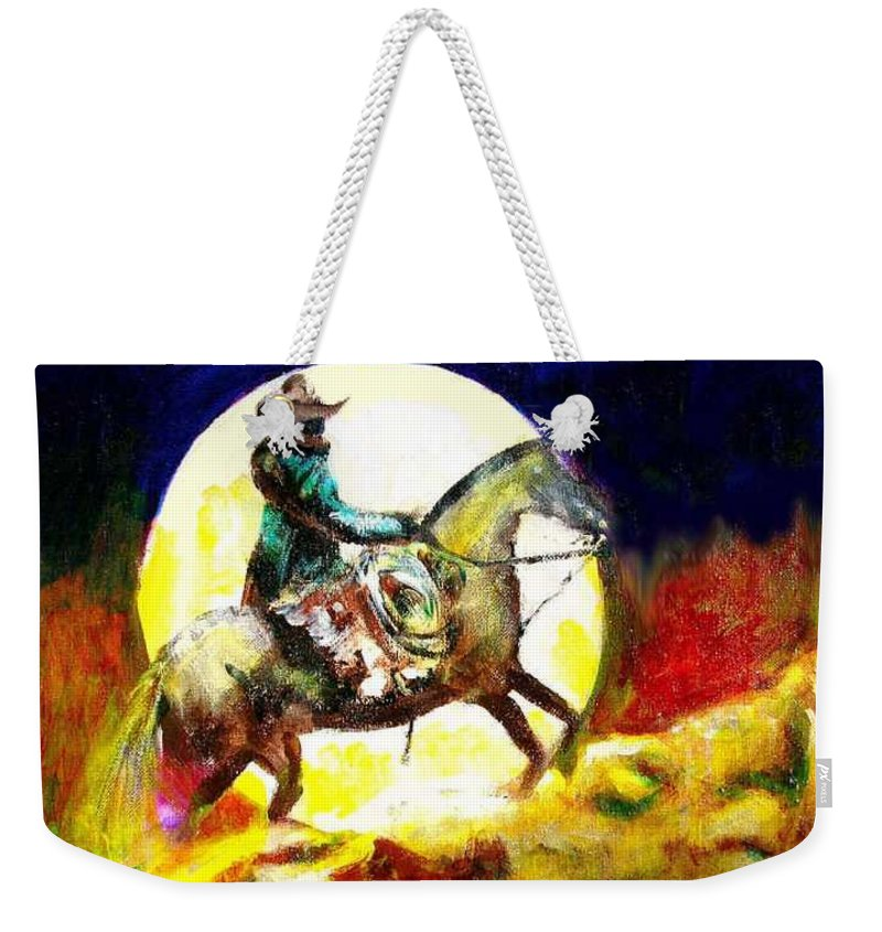 Canyon Moon Weekender Tote Bag featuring the painting Canyon Moon by Seth Weaver