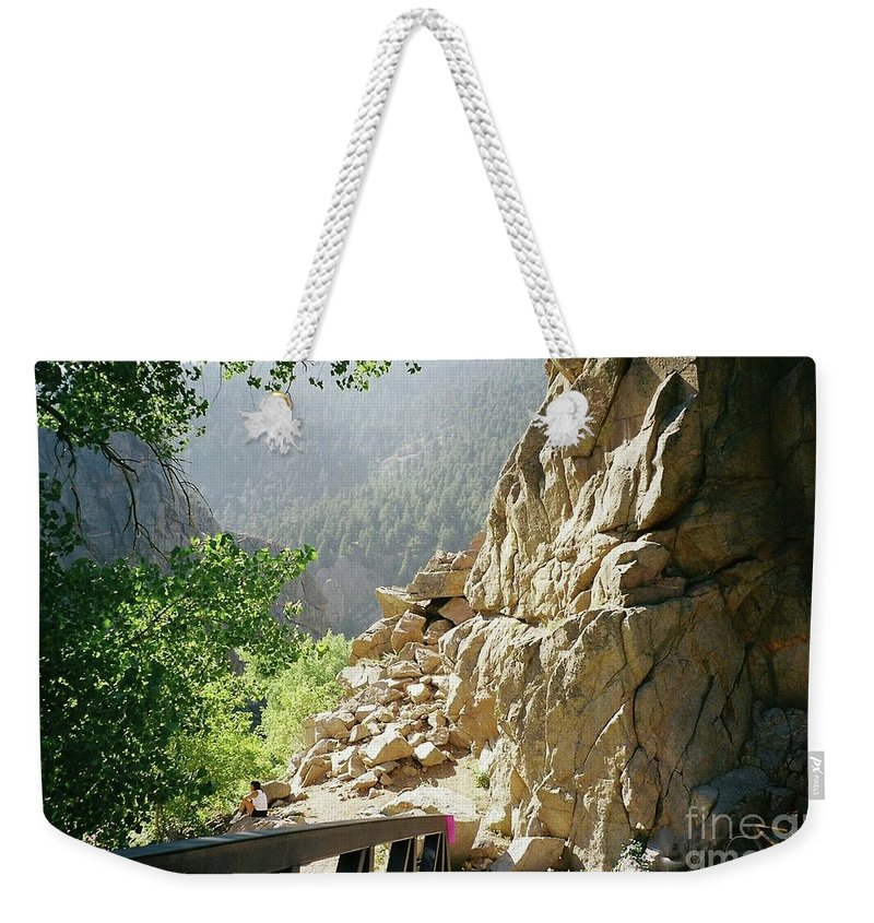 Canyon Weekender Tote Bag featuring the photograph Canyon Rocks Horizontal by Brenda Ackerman