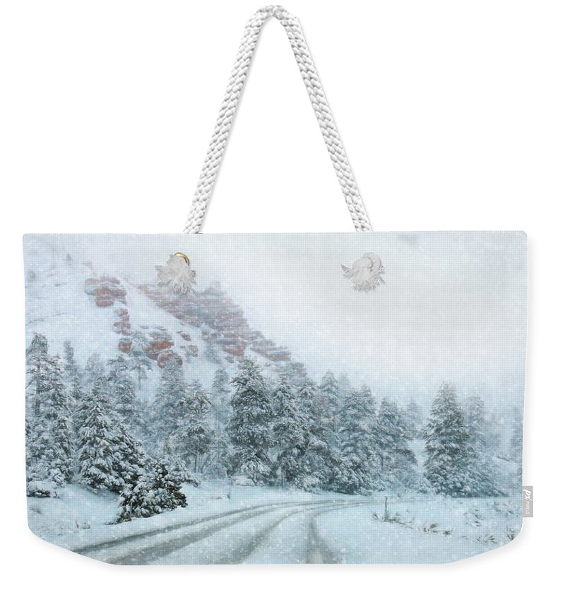 Red Canyon Weekender Tote Bag featuring the photograph Canyon Snow by Lori Deiter