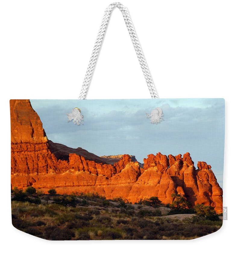 Utah Weekender Tote Bag featuring the photograph Canyonlands At Sunset by Marty Koch