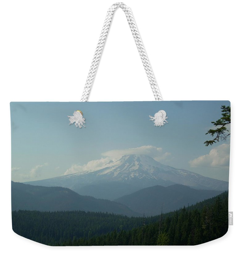 Mt Hood Weekender Tote Bag featuring the photograph Cap And Hood by Sara Stevenson