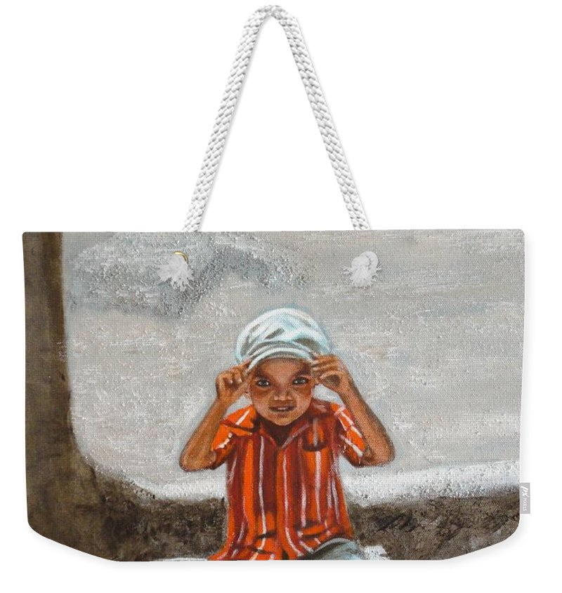 Cap Weekender Tote Bag featuring the painting Cap On by Usha Shantharam