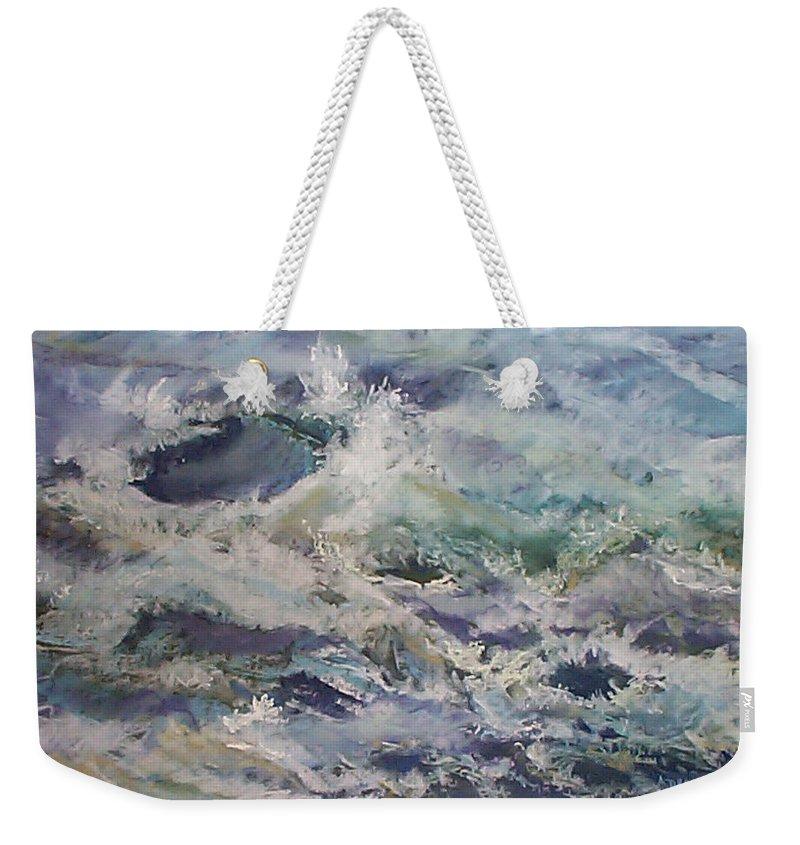 Marine Study Weekender Tote Bag featuring the pastel Cape Elizabeth Wave Breaks by Alicia Drakiotes