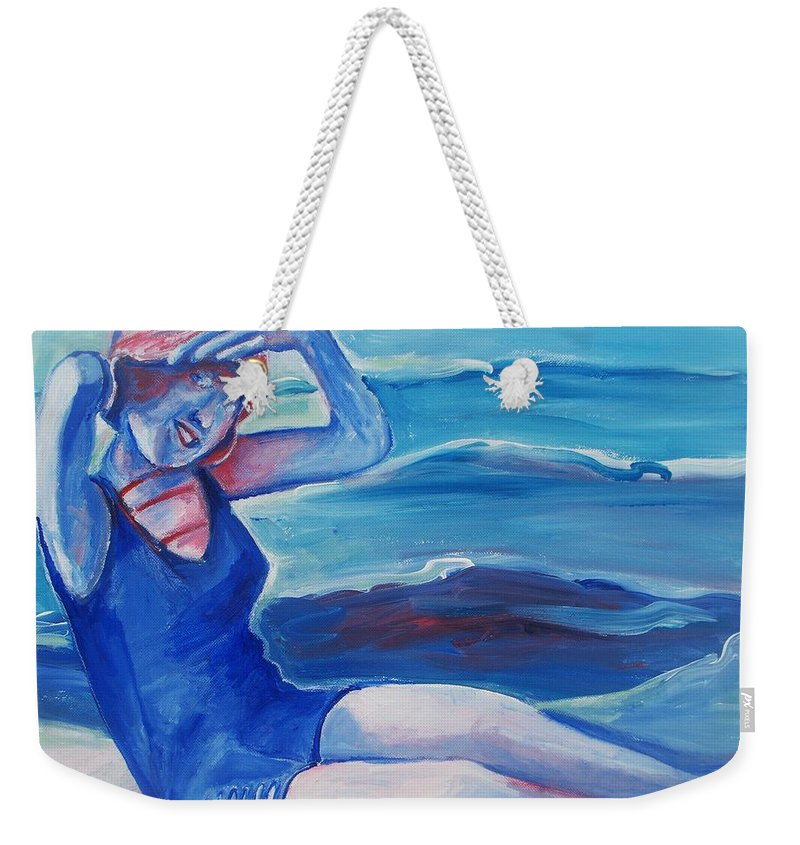 Beach Weekender Tote Bag featuring the painting Cape May 1920s Girl by Eric Schiabor