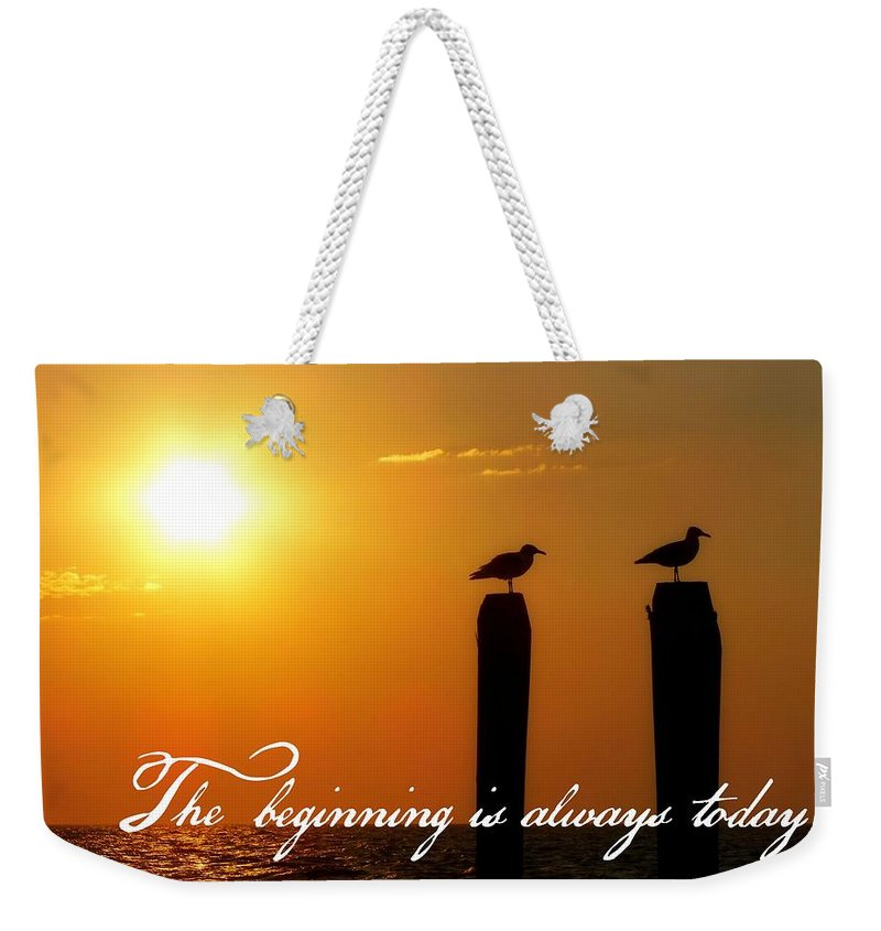 Sunrise Weekender Tote Bag featuring the photograph Cape May Morning Quote by JAMART Photography
