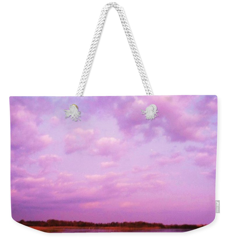 Cape May Point Nj Weekender Tote Bag featuring the painting Cape May Point State Park Lanscape And Clouds by Eric Schiabor