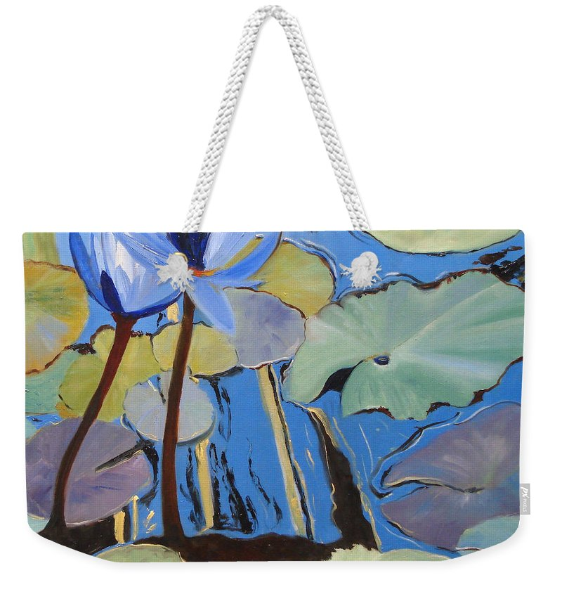Lillies Weekender Tote Bag featuring the painting Capistrano Lillies by Barbara Andolsek
