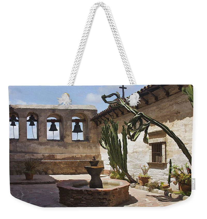 Mission Weekender Tote Bag featuring the digital art Capistrano Mission Courtyard by Sharon Foster