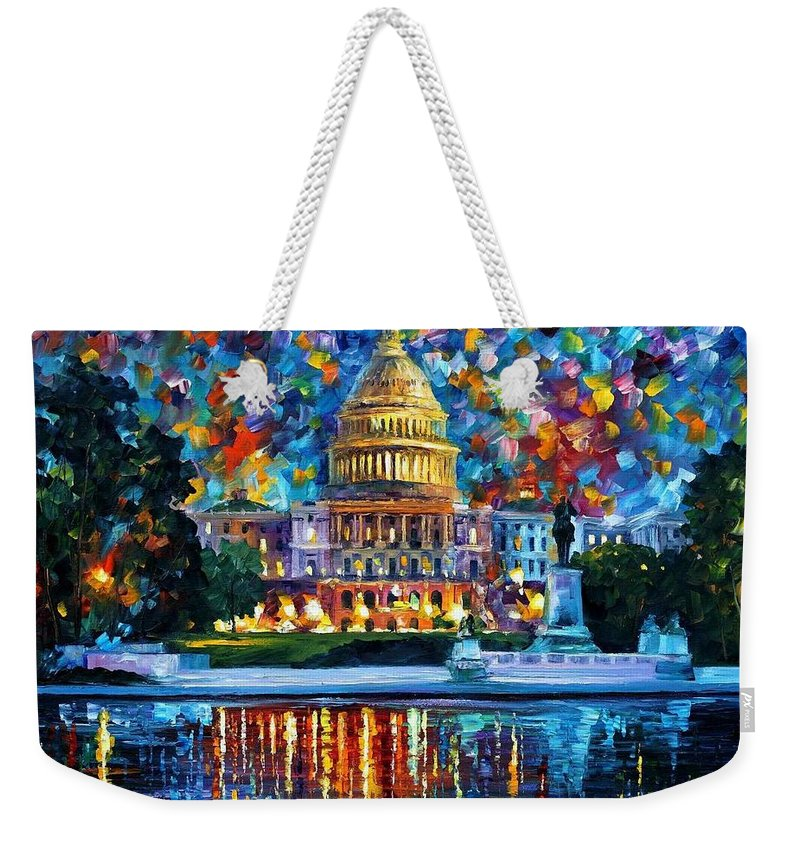 Afremov Weekender Tote Bag featuring the painting Capital At Night - Washington by Leonid Afremov