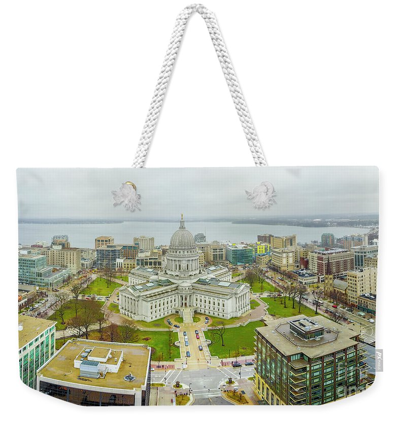 Madison Weekender Tote Bag featuring the photograph Capital Panoramic by Randy Kostichka