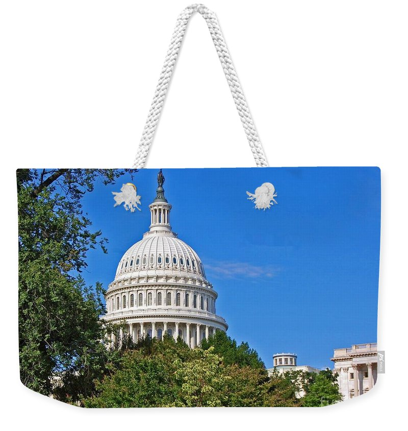 Washington Weekender Tote Bag featuring the photograph Capitol Gains by Debbi Granruth