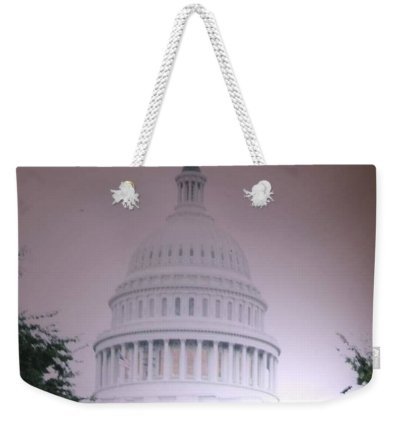 Capitol Weekender Tote Bag featuring the photograph Capitol In Pink by Pharris Art