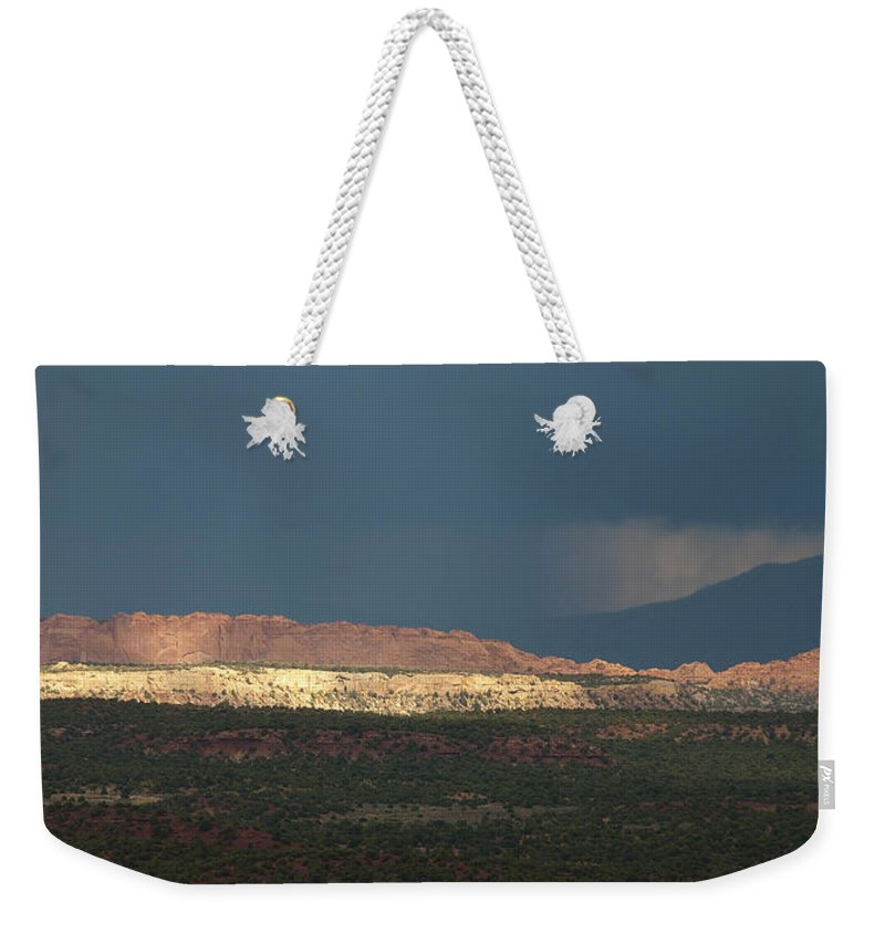 Canyon Weekender Tote Bag featuring the photograph Capitol Reef Storm 0050 by Bob Neiman