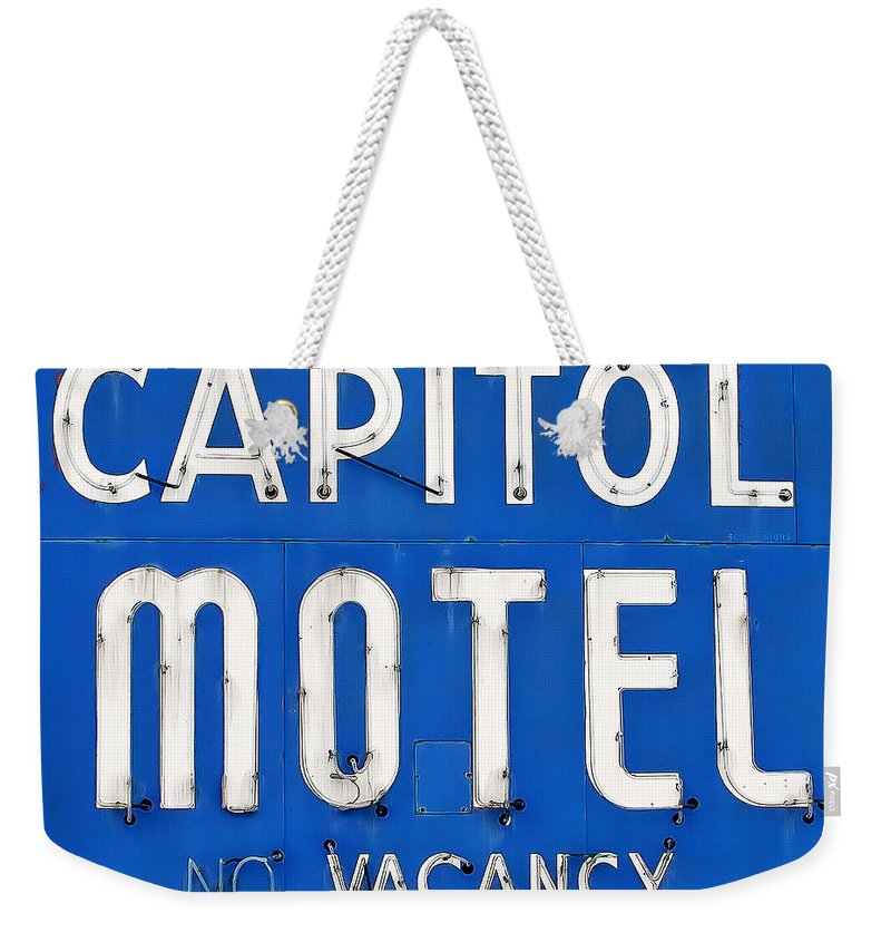 Capitol Motel Weekender Tote Bag featuring the photograph Capitol Sign by Todd Klassy