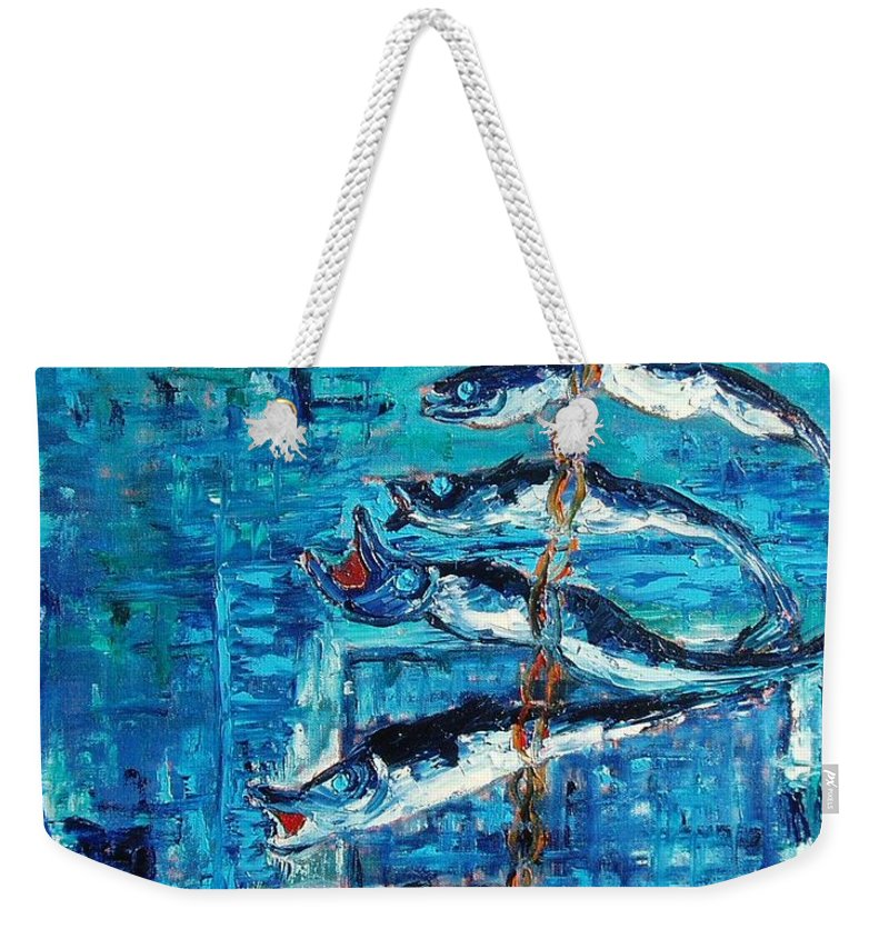 Fish Painting Weekender Tote Bag featuring the painting Caplin by Seon-Jeong Kim