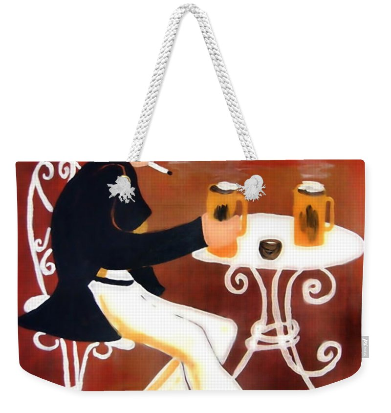 Cappuccino Weekender Tote Bag featuring the painting Cappuccino by Helmut Rottler