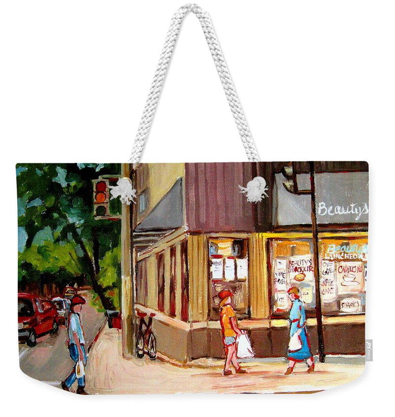 Cafes Weekender Tote Bag featuring the painting Cappucino Cafe At Beauty's Restaurant by Carole Spandau