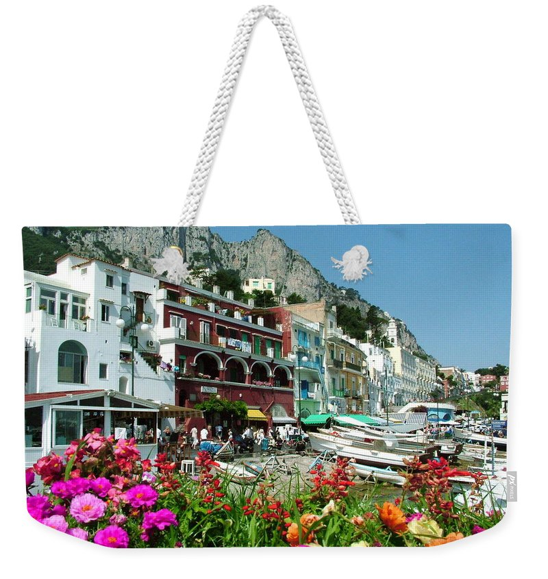 Capri Weekender Tote Bag featuring the photograph Capri by Donna Corless