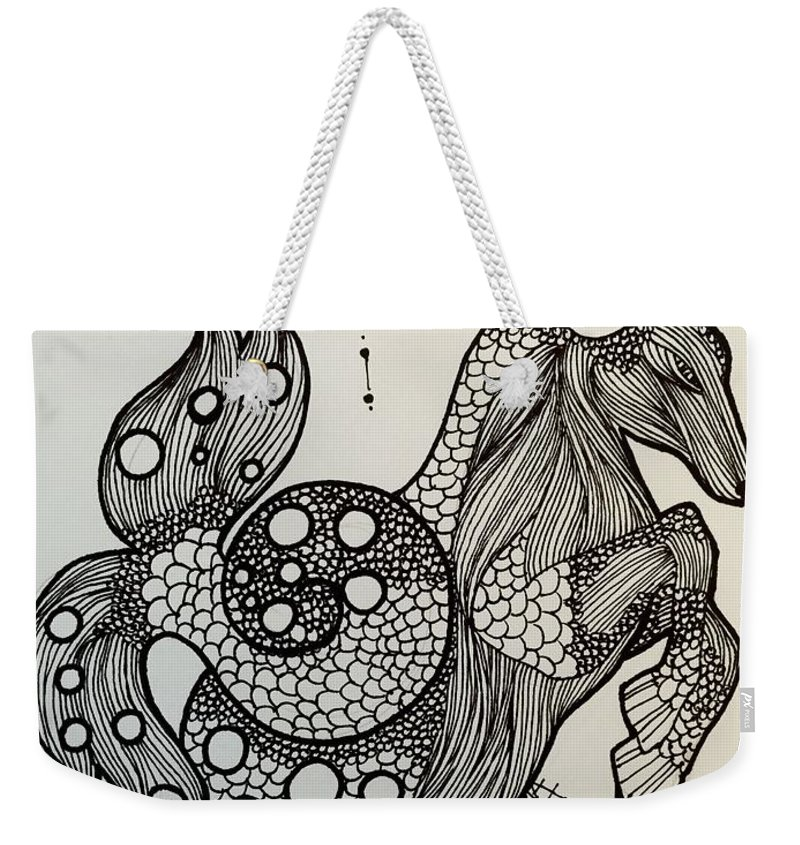 Zodiac Weekender Tote Bag featuring the drawing Capricorn by Maria Leah Comillas