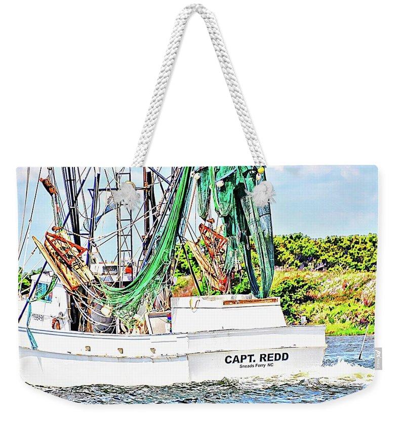 Weekender Tote Bag featuring the digital art Capt. Redd by Katheryn Batts
