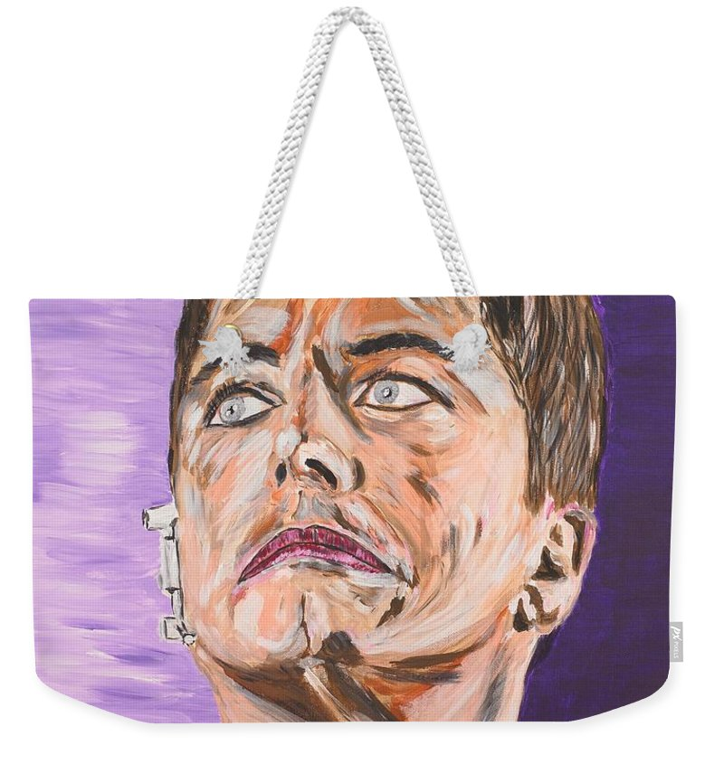 Torchwood Weekender Tote Bag featuring the painting Captain Jack Harkness by Valerie Ornstein