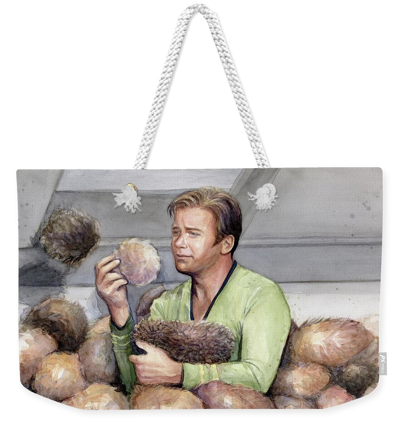 Star Trek Weekender Tote Bag featuring the painting Captain Kirk And Tribbles by Olga Shvartsur
