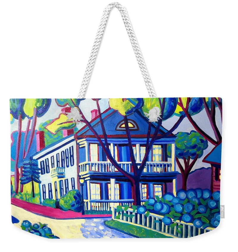 Captain Morse House Weekender Tote Bag featuring the painting Captain Morse House Edgartown by Debra Bretton Robinson