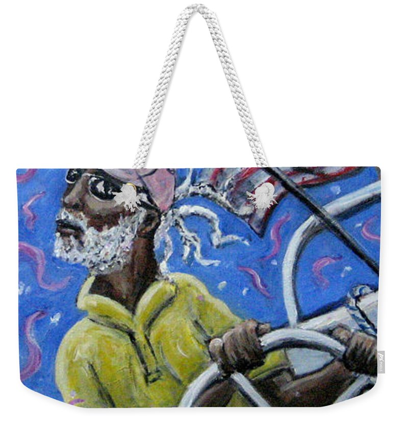 Sailor Sail Boat Black Man Flag Cape Cod Weekender Tote Bag featuring the painting Captin Percy by Jason Gluskin