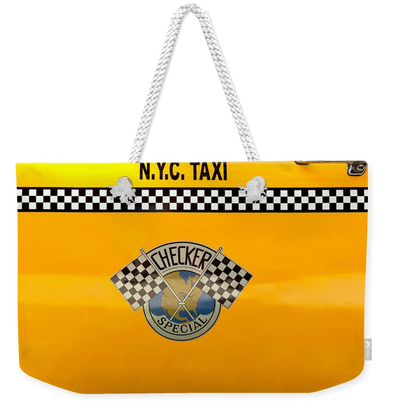 New York Weekender Tote Bag featuring the photograph Car - City - Nyc Taxi by Mike Savad