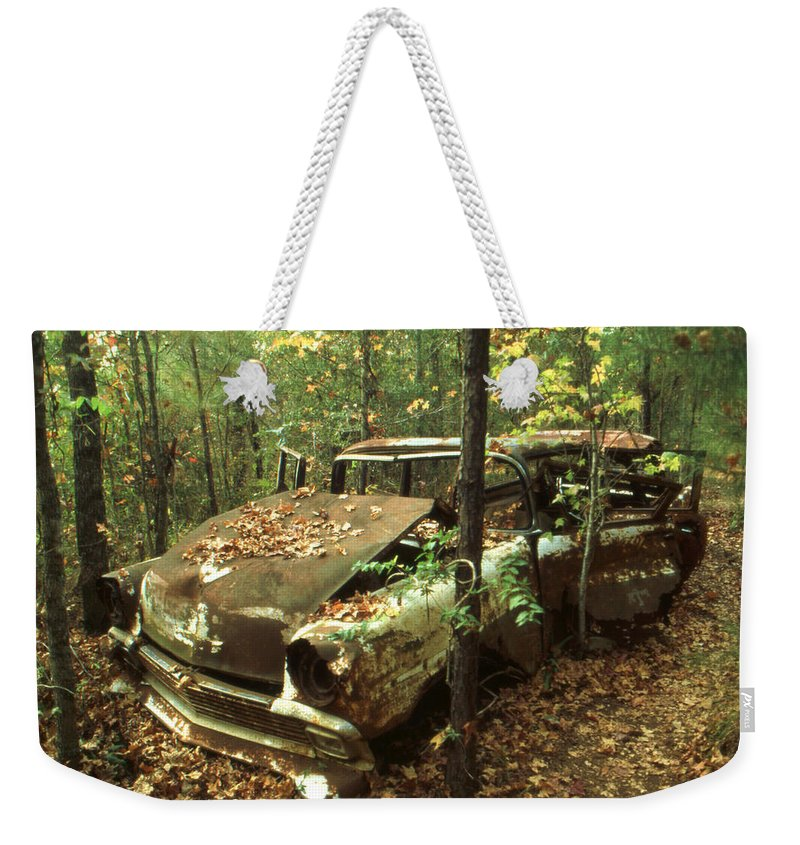 Car_wreck Weekender Tote Bag featuring the photograph Car Wreck In The Forest by Peter Potter