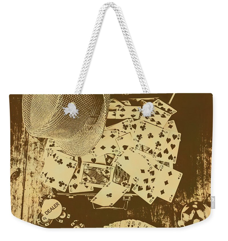 Vintage Weekender Tote Bag featuring the photograph Card Games And Vintage Bets by Jorgo Photography - Wall Art Gallery