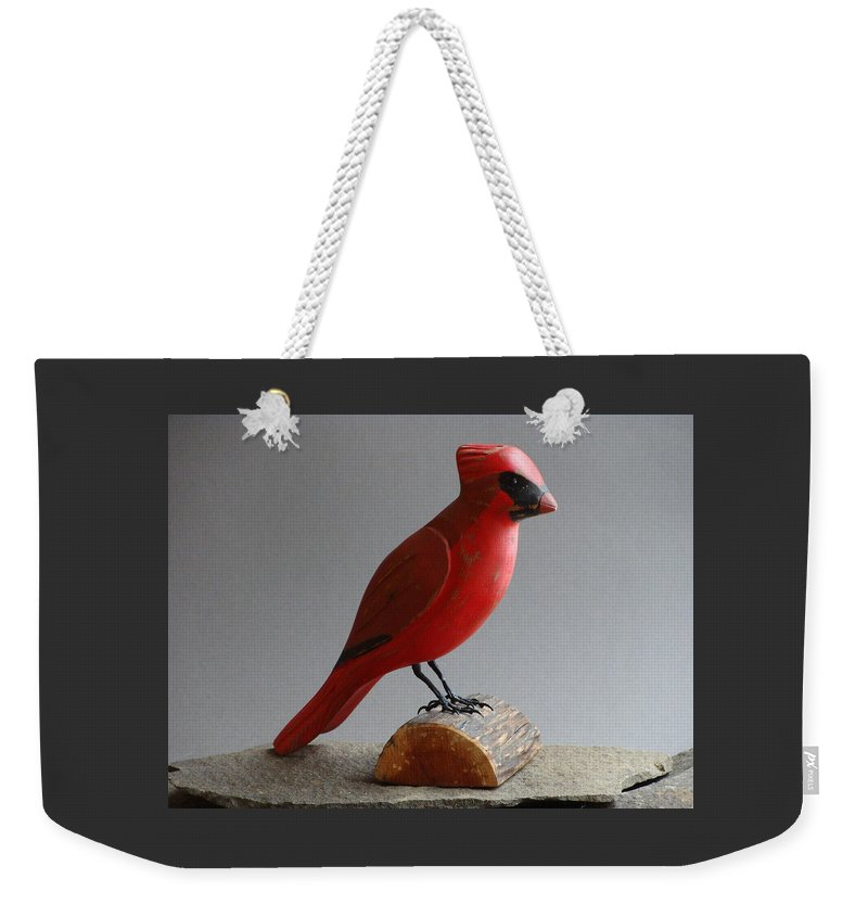 Wood Weekender Tote Bag featuring the sculpture Cardinal by Bruce Peterson