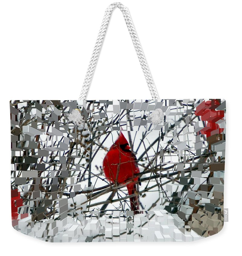 Birds Weekender Tote Bag featuring the photograph Cardinal by Lisa Kane