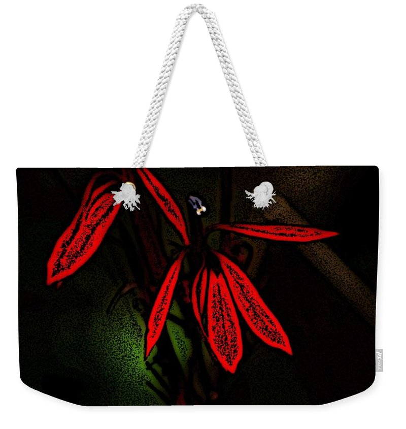 Digital Photograph Weekender Tote Bag featuring the photograph Cardinal Plant Woodcut by David Lane
