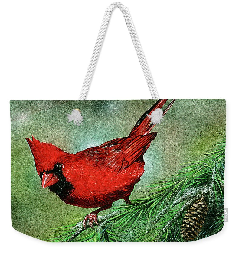 Cardinal Weekender Tote Bag featuring the drawing Cardinal by Todd Bachta